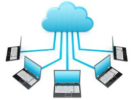 0914 Network Of Laptops Connected Through Cloud Computing Stock Photo