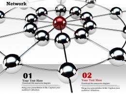 0914 Network Web With Spheres Individual Red Sphere Image Graphics For Powerpoint