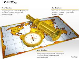 0914 Old Map Compass Binocular Image Ppt Slide Image Graphics For Powerpoint