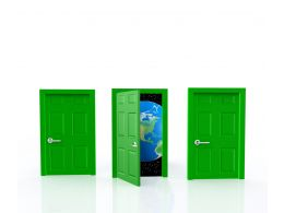 0914 One Of Three Doors Opens To Reveal A World Of New Opportunity Stock Photo