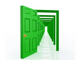 0914 Open Green Doors On White Background Opportunity Graphic Stock Photo