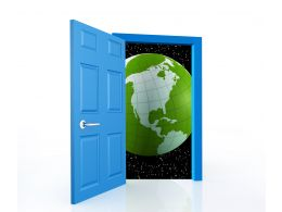 0914 Open The Door To A World Of Opportunities Globe Image Stock Photo