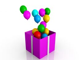 0914 Opened Gift Box With Balloons Christmas Image Graphic Stock Photo