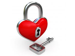0914 Padlock In Shape Of Heart With Key Stock Photo