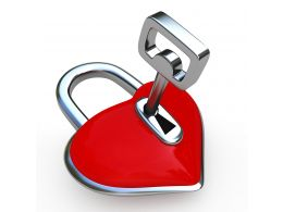 0914 Padlock Of Heart Shape With Key Stock Photo