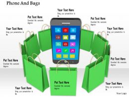 0914 Phone And Bags Mobile Shopping Concept Ppt Slide Image Graphics For Powerpoint