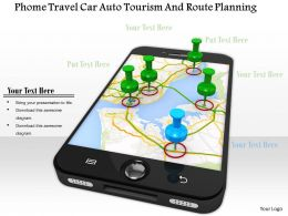 0914 Phone Travel Car Auto Tourism And Route Planning Ppt Slide Image Graphics For Powerpoint