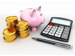 0914 Piggy Bank With Coins Calculator Pen For Savings Stock Photo