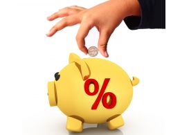 0914 Piggy Bank With Hand And Coin Savings Concept Image Stock Photo