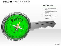 0914 Profit Key With Green Compass Image Graphics For Powerpoint