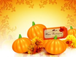 0914 Pumpkins With Chrysanthemum Beautiful Thanks Giving Ppt Powerpoint Presentation Slide