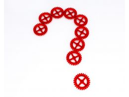 0914 Question Mark From Red Abstract Gears Mechanism Image Stock Photo