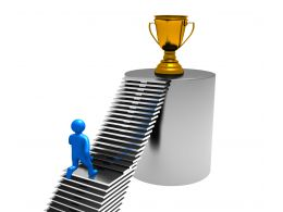 0914 Reaching The Top 3d Man Staircase Trophy Image Graphic Stock Photo