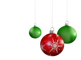 0914 Red And Green Christmas Balls Beautiful Celebration Image Stock Photo