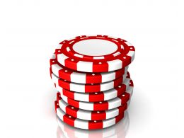 0914 Red Color Gambling Chips Success Image Graphic Stock Photo