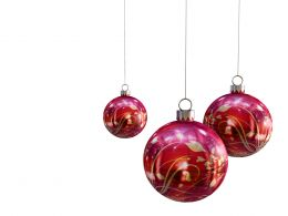 0914 Red Designer Christmas Balls On White Background Stock Photo