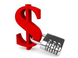 0914 Red Dollar Symbol With Silver Lock For Financial Security Stock Photo