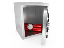 0914 Red Dynamite Bomb Inside The Safe Stock Photo