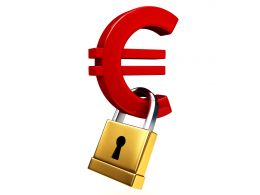 0914 Red Euro Symbol With Golden Padlock For Financial Security Stock Photo