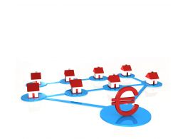 0914 Red Houses Connected For Euro Business Image Graphic Stock Photo