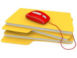 0914 Red Mouse On Stack Of Folders For Technology Stock Photo