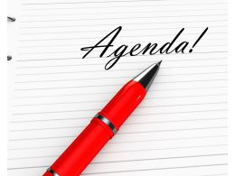 0914 Red Pen With Agenda Word For Business Stock Photo