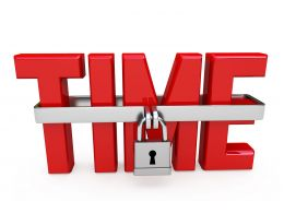 0914 Red Text Of Word Time With Lock Stock Photo