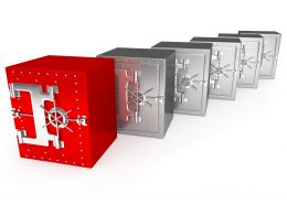 0914 Red Unique Safe Standing Ahead In Steel Safes Stock Photo