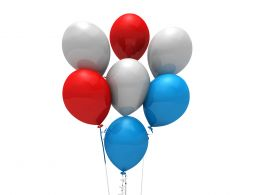 0914 Red White And Blue Party Balloons Independence Day Theme Image Stock Photo