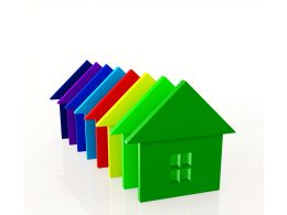 0914 Row Of 3d Colorful Houses For Real Estate Stock Photo