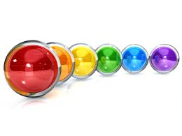 0914 Row Of Colorful Spheres For Competition Stock Photo