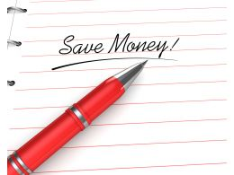 0914 Save Money Text On Note Pad With Pen Stock Photo