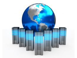0914 Server Computers And Earth Globe For Internet Concept Stock Photo