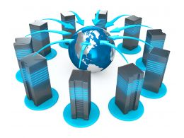 0914 Servers Connected To Globe For Internet Technology Stock Photo