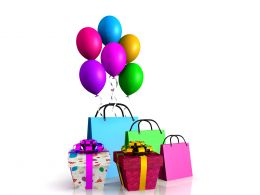 0914 Shopping Bags Balloons And Gifts Fun Festive Celebration Image Stock Photo