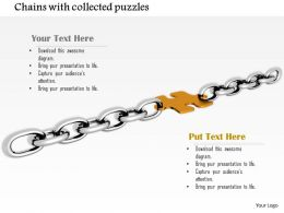 0914 Silver Chain Connected With Puzzle Piece Image Graphics For Powerpoint
