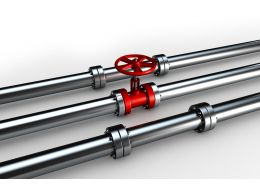 0914 Silver Water Supply Pipelines With Red Valve Stock Photo