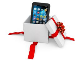 0914 Smartphone In The Gift Box With Red Ribbons Stock Photo