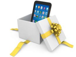 0914 Smartphone In The Gift Box With Yellow Ribbon Stock Photo