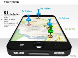 0914 Smartphone Location Pins Map Ppt Slide Image Graphics For Powerpoint