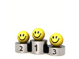 0914 Smileys On The Podium Success Image Graphic Stock Photo
