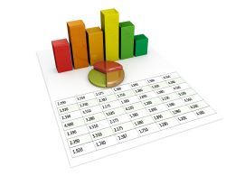 0914 Spreadsheet And Charts For Financial Reports Stock Photo
