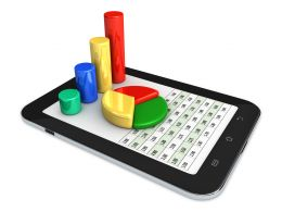 0914 Spreadsheet And Charts On Computer Tablet Stock Photo