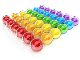 0914 Square Of Colorful Spheres For Teamwork Stock Photo