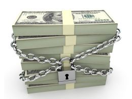 0914 Stack Of Dollars Secured Padlock And Chain Stock Photo
