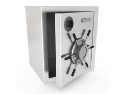 0914 Steel Metal Safe On White Background Stock Photo