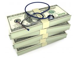0914 Stethoscope On Bundles Of Dollars Stock Photo