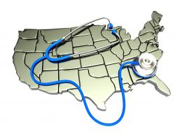 0914 Stethoscope On Map Of America Stock Photo