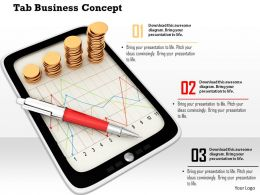 0914 Tablet Business Concept Graphs Gold Coins Pen Ppt Slide Image Graphics For Powerpoint