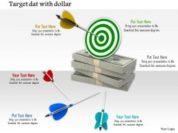 0914 Target Dart Game With Dollar Bundle Finance Concept Ppt Slide Image Graphics For Powerpoint